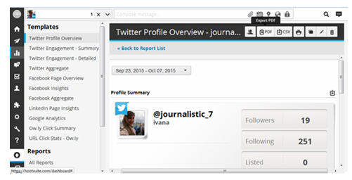 Hootsuite- Twitter profile overview