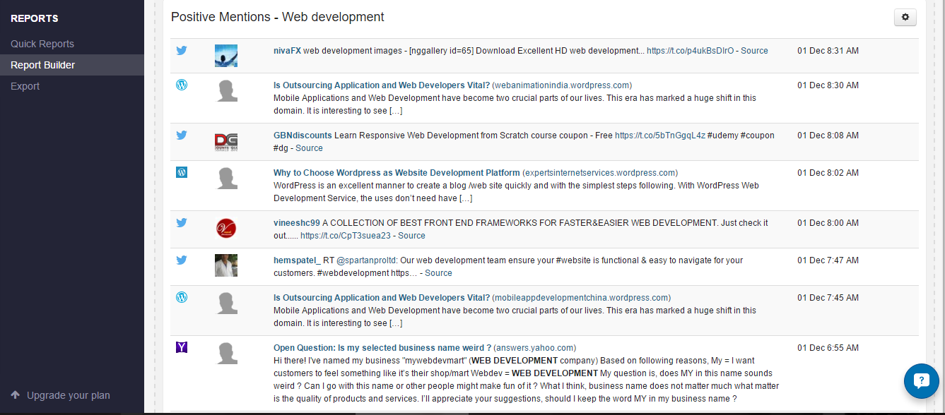 SENDIBLE- POZITIVE MENTIONS FOR WEB DEVELOPMENT- TWITTER REPORT MODULE