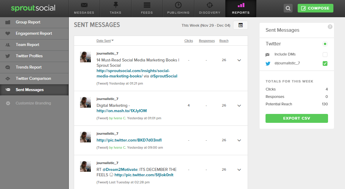 SPROUTSOCIAL- SENT MESSAGES- CLICKS, RESPONSES, POTENTIAL