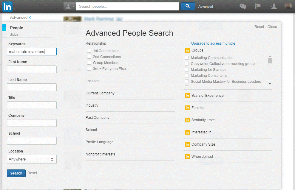 linkedin advanced network search