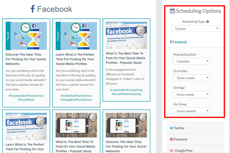 social media scheduling posting automation populizr