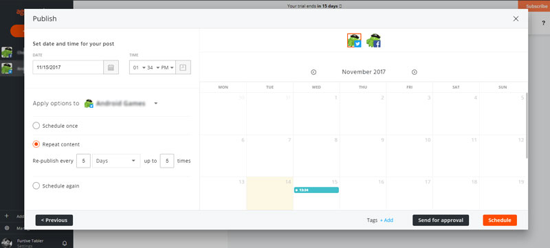 agorapulse schedule again