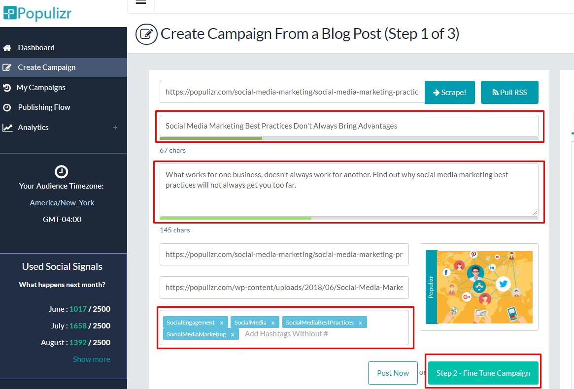 Populizr campaign step 1