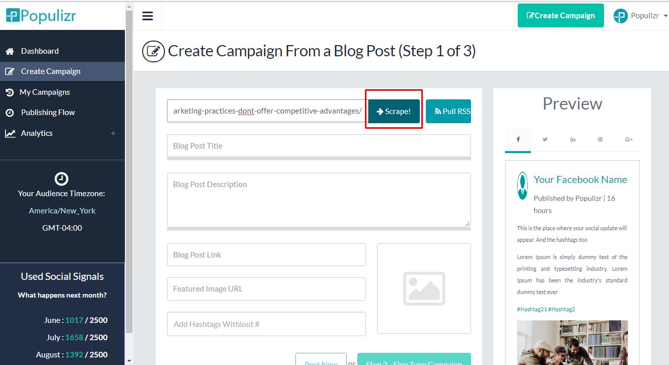 scrape blog post's URL link
