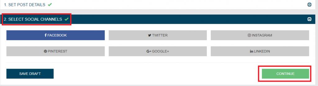 select social accounts on Loomly
