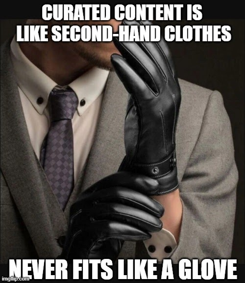 photo of a man with gloves, meme explaining that curated content is not a good way of building social presence